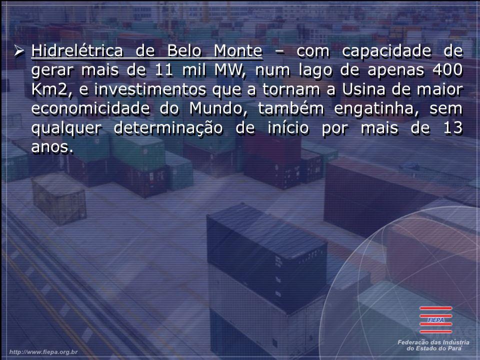 Hidrelétrica de Belo Monte – com capacidade de gerar mais de 11 mil MW, num lago de apenas 400 Km2, e investimentos que a tornam a Usina de maior economicidade do Mundo, também engatinha, sem qualquer determinação de início por mais de 13 anos.