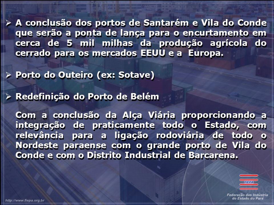 A conclusão dos portos de Santarém e Vila do Conde que serão a ponta de lança para o encurtamento em cerca de 5 mil milhas da produção agrícola do cerrado para os mercados EEUU e a Europa.