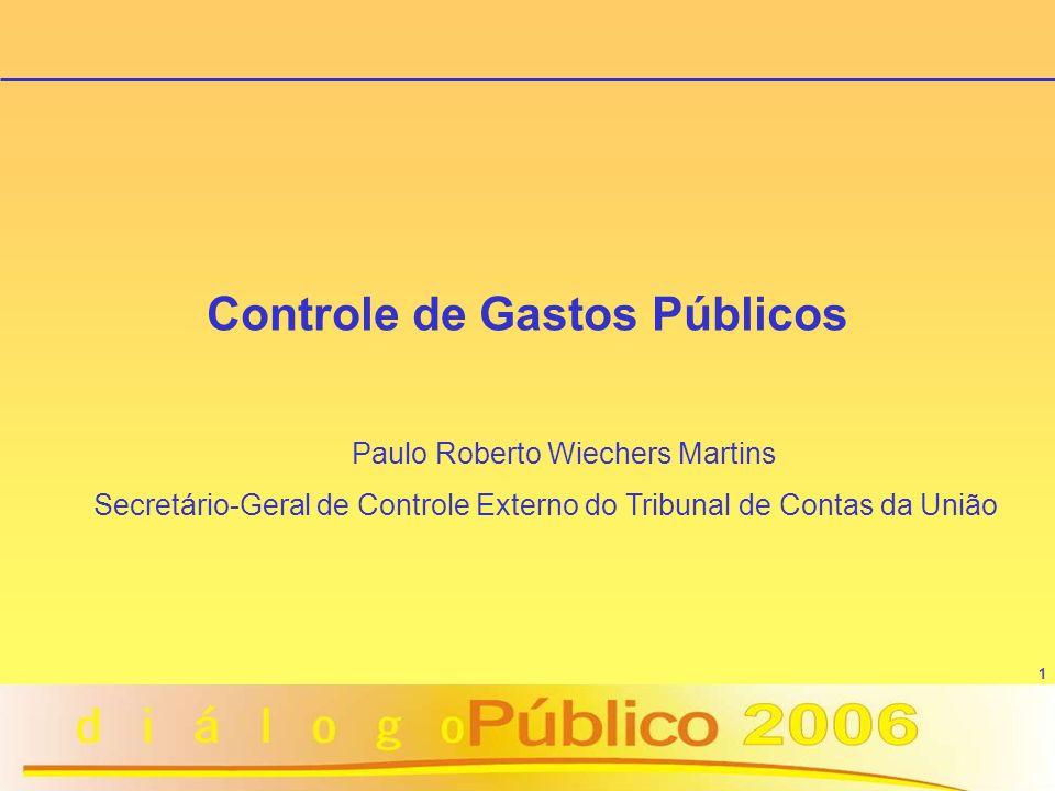 1 Controle de Gastos Públicos Paulo Roberto Wiechers Martins Secretário-Geral de Controle Externo do Tribunal de Contas da União