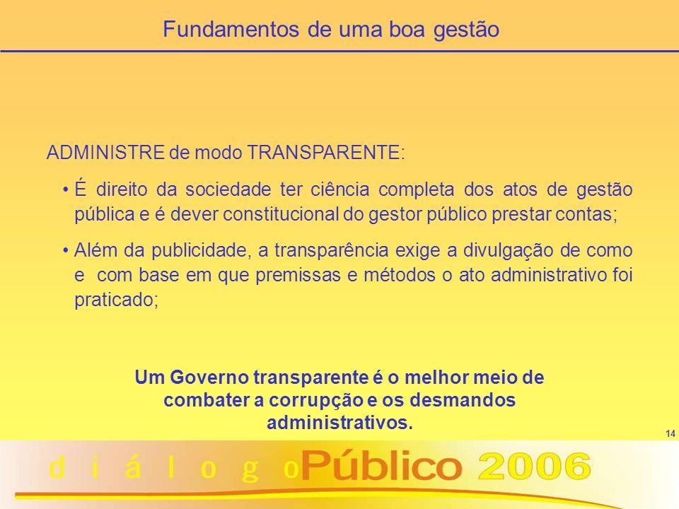 14 ADMINISTRE de modo TRANSPARENTE: É direito da sociedade ter ciência completa dos atos de gestão pública e é dever constitucional do gestor público