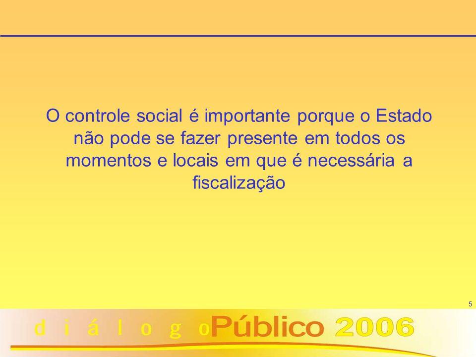 5 O controle social é importante porque o Estado não pode se fazer presente em todos os momentos e locais em que é necessária a fiscalização