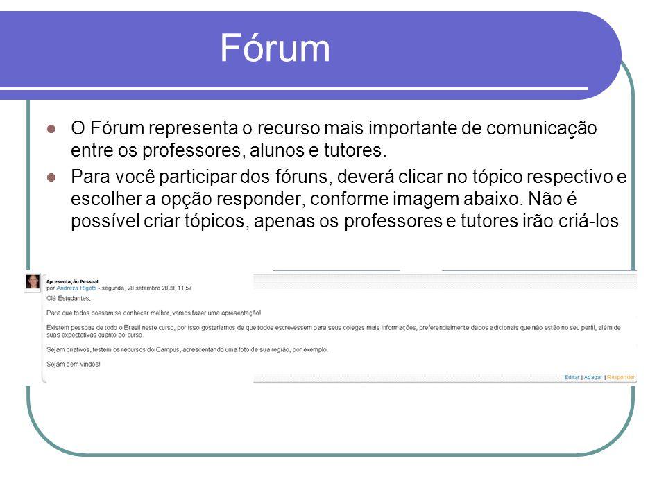 Fórum O Fórum representa o recurso mais importante de comunicação entre os professores, alunos e tutores. Para você participar dos fóruns, deverá clic
