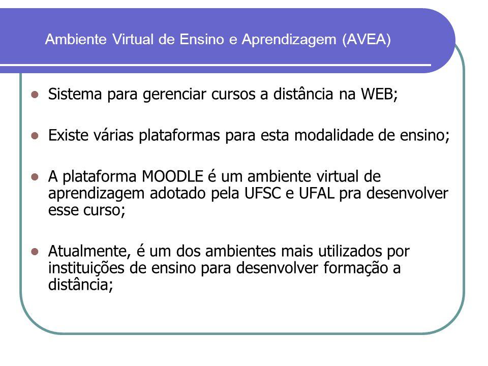 Ambiente Virtual de Ensino e Aprendizagem (AVEA) Sistema para gerenciar cursos a distância na WEB; Existe várias plataformas para esta modalidade de e