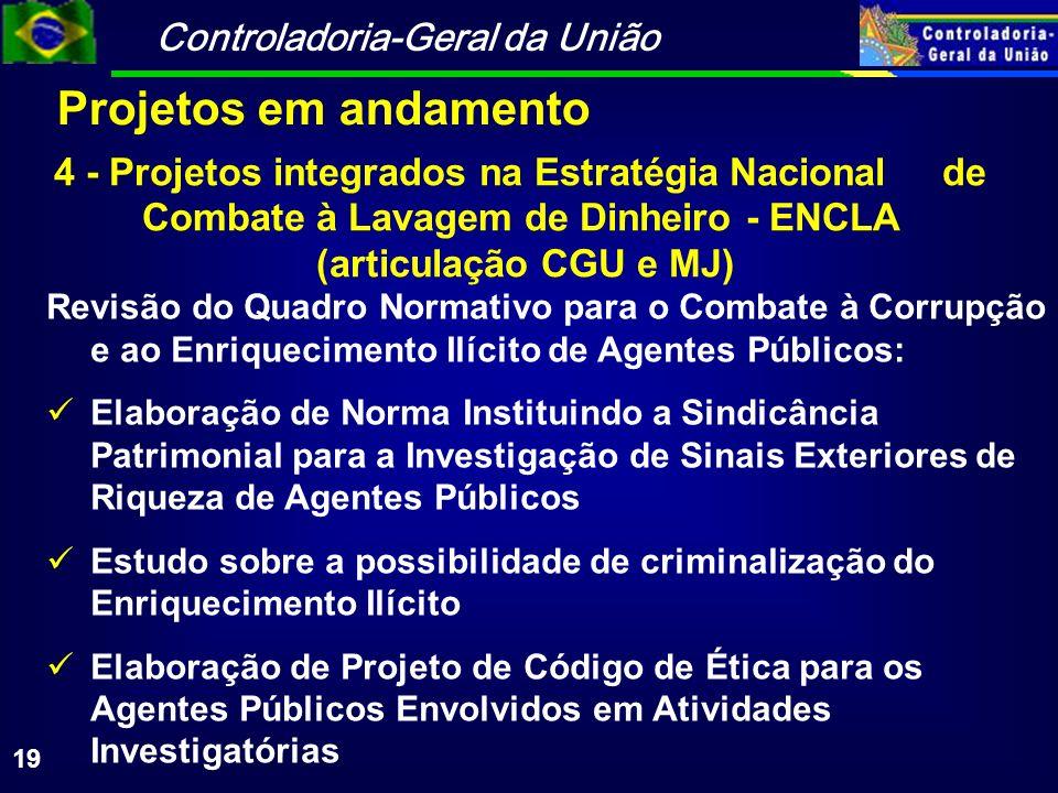 Controladoria-Geral da União 19 4 - Projetos integrados na Estratégia Nacional de Combate à Lavagem de Dinheiro - ENCLA (articulação CGU e MJ) Revisão