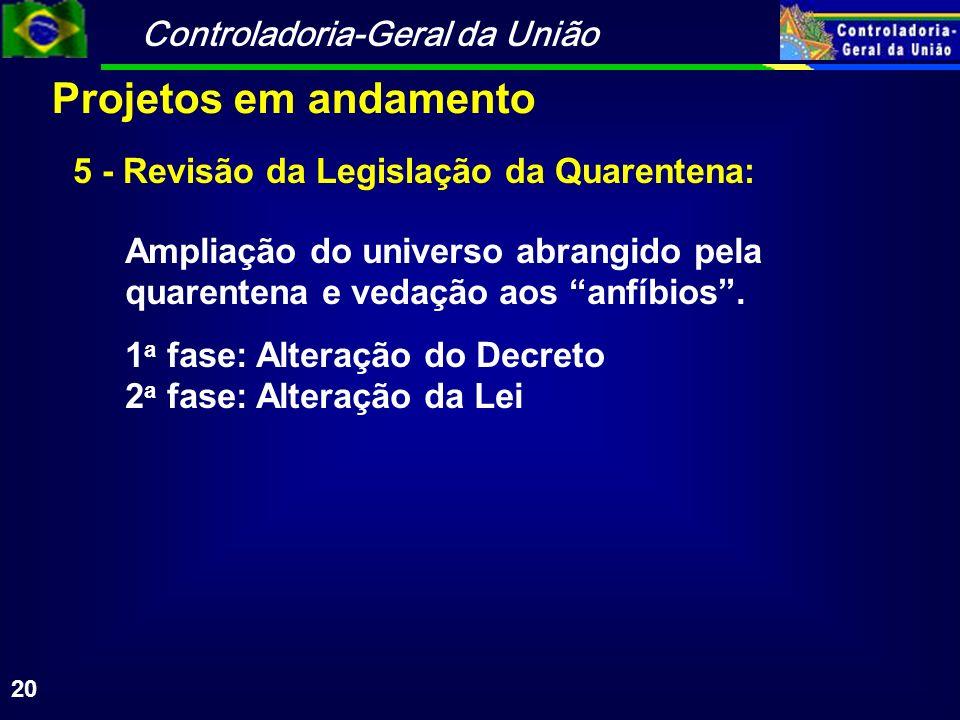 Controladoria-Geral da União 20 Ampliação do universo abrangido pela quarentena e vedação aos anfíbios. 1 a fase: Alteração do Decreto 2 a fase: Alter