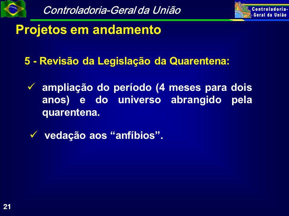 Controladoria-Geral da União 21 5 - Revisão da Legislação da Quarentena: Projetos em andamento vedação aos anfíbios.