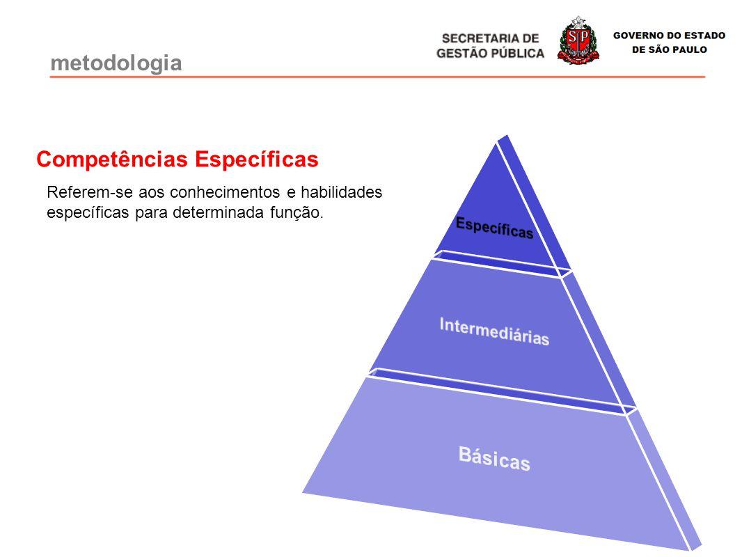 Referem-se aos conhecimentos e habilidades específicas para determinada função. Competências Específicas metodologia