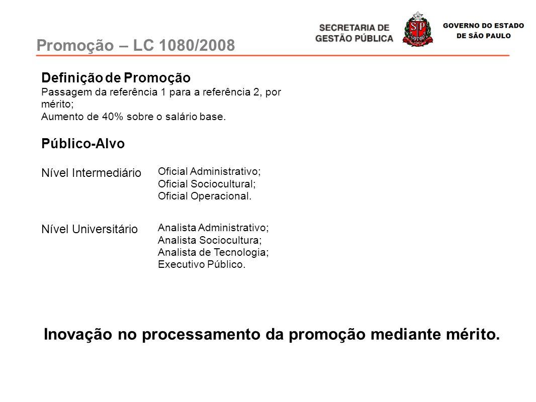 Promoção – LC 1080/2008 Nível Intermediário Oficial Administrativo; Oficial Sociocultural; Oficial Operacional. Nível Universitário Analista Administr