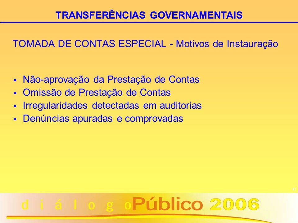 17 TOMADA DE CONTAS ESPECIAL - Motivos de Instauração Não-aprovação da Prestação de Contas Omissão de Prestação de Contas Irregularidades detectadas e