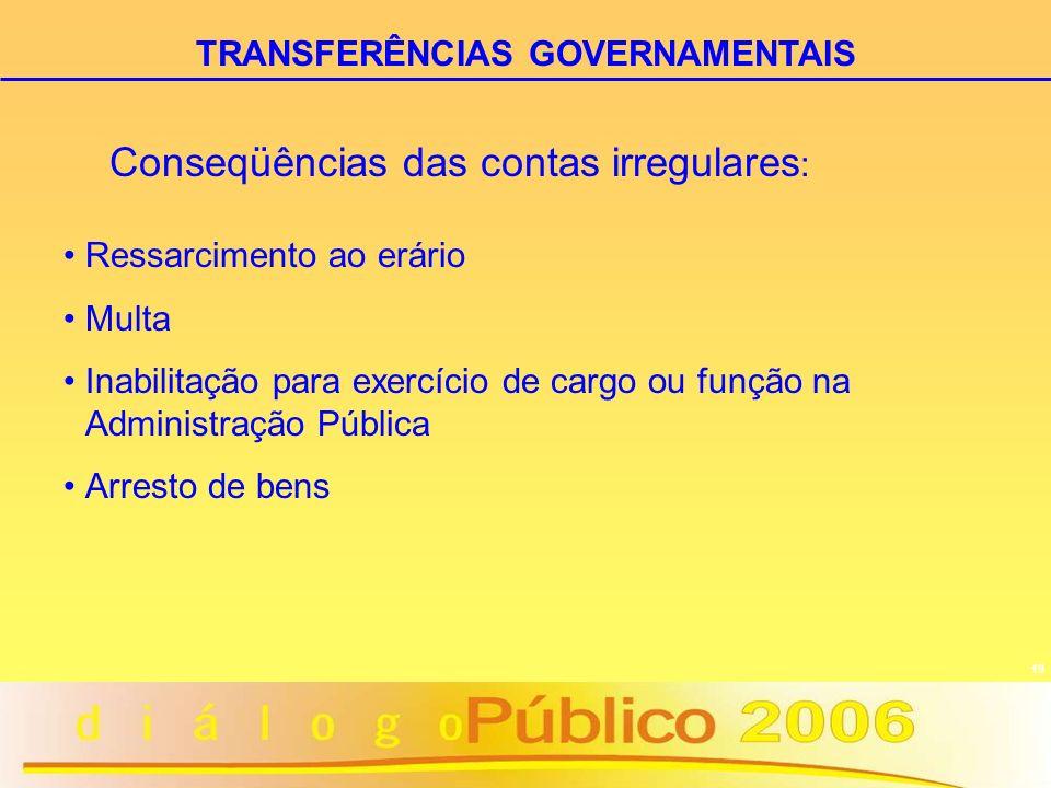 19 Conseqüências das contas irregulares : Ressarcimento ao erário Multa Inabilitação para exercício de cargo ou função na Administração Pública Arrest