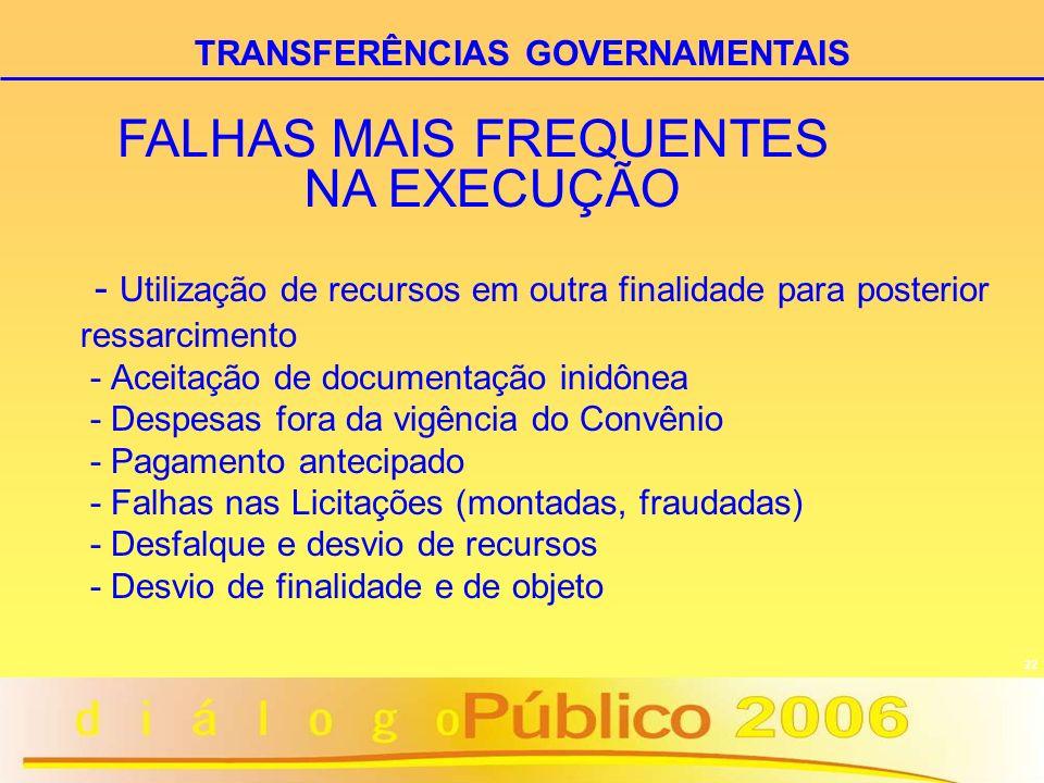 22 - Utilização de recursos em outra finalidade para posterior ressarcimento - Aceitação de documentação inidônea - Despesas fora da vigência do Convê