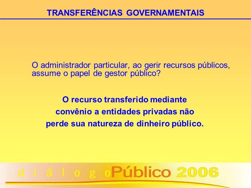 3 O administrador particular, ao gerir recursos públicos, assume o papel de gestor público? O recurso transferido mediante convênio a entidades privad