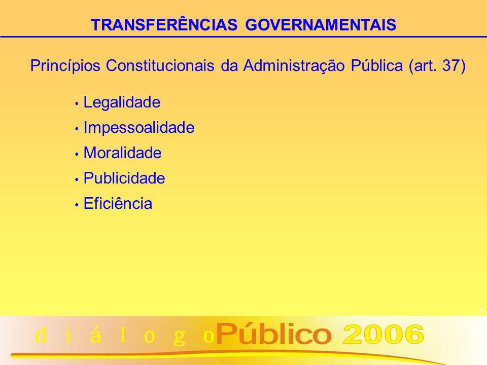 4 Princípios Constitucionais da Administração Pública (art. 37) Legalidade Impessoalidade Moralidade Publicidade Eficiência TRANSFERÊNCIAS GOVERNAMENT