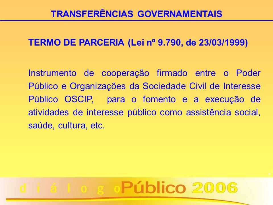 8 TERMO DE PARCERIA (Lei nº 9.790, de 23/03/1999) Instrumento de cooperação firmado entre o Poder Público e Organizações da Sociedade Civil de Interes