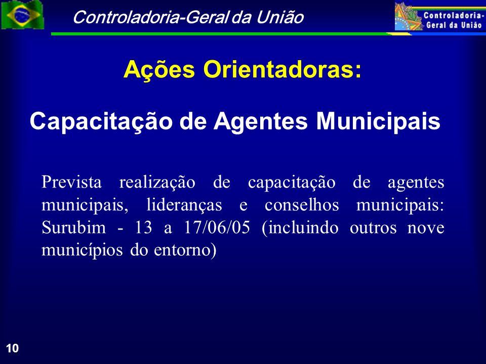 Controladoria-Geral da União 10 Ações Orientadoras: Prevista realização de capacitação de agentes municipais, lideranças e conselhos municipais: Surub