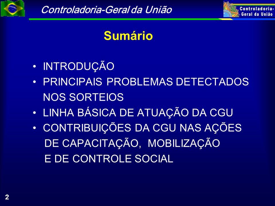 Controladoria-Geral da União 2 Sumário INTRODUÇÃO PRINCIPAIS PROBLEMAS DETECTADOS NOS SORTEIOS LINHA BÁSICA DE ATUAÇÃO DA CGU CONTRIBUIÇÕES DA CGU NAS