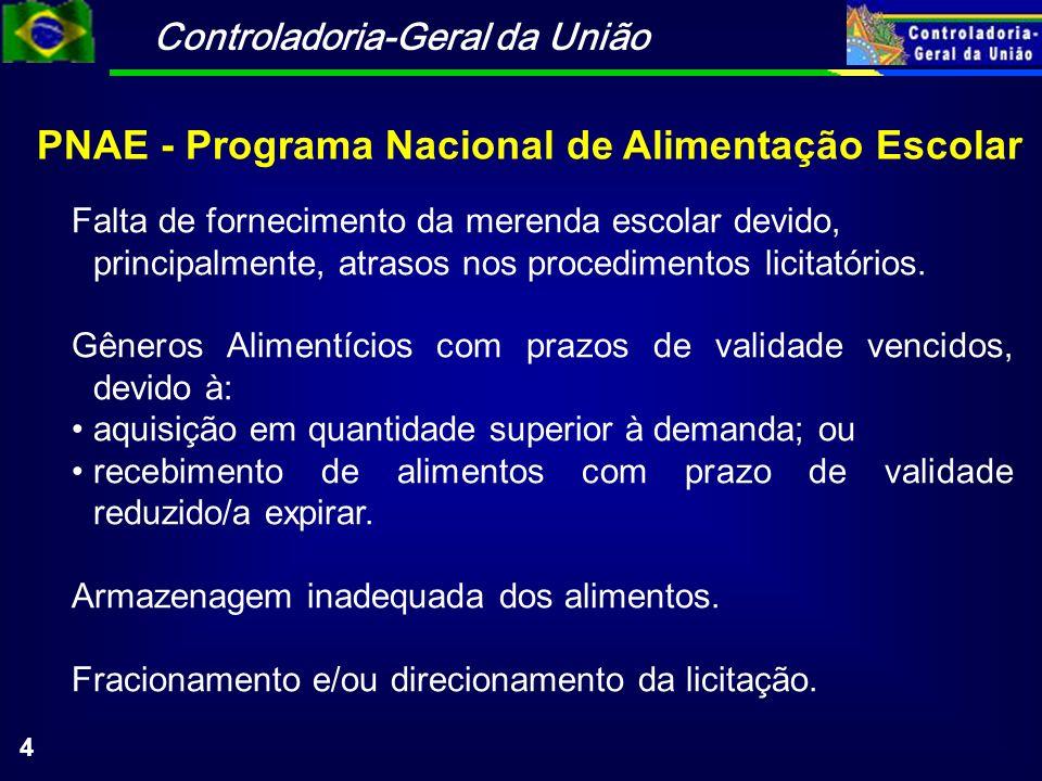 Controladoria-Geral da União 4 PNAE - Programa Nacional de Alimentação Escolar Falta de fornecimento da merenda escolar devido, principalmente, atrasos nos procedimentos licitatórios.
