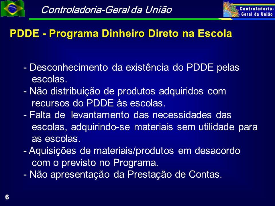 Controladoria-Geral da União 6 PDDE - Programa Dinheiro Direto na Escola - Desconhecimento da existência do PDDE pelas escolas.