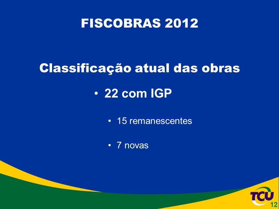 22 com IGP 15 remanescentes 7 novas FISCOBRAS 2012 Classificação atual das obras 12