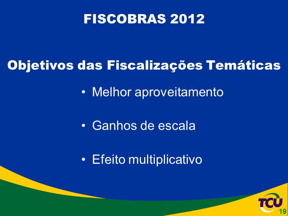 Melhor aproveitamento Ganhos de escala Efeito multiplicativo FISCOBRAS 2012 Objetivos das Fiscalizações Temáticas 19