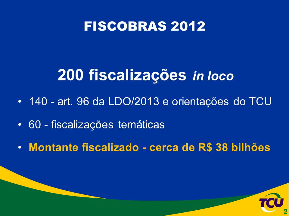 FISCOBRAS 2012 200 fiscalizações in loco 140 - art.