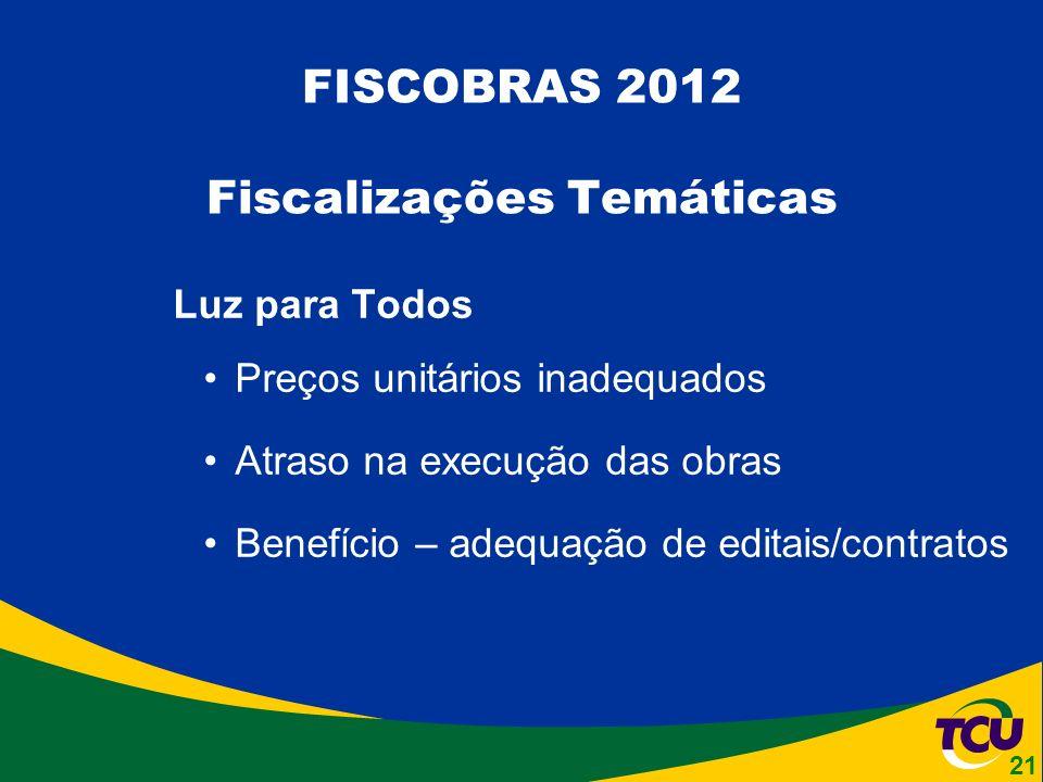 Luz para Todos Preços unitários inadequados Atraso na execução das obras Benefício – adequação de editais/contratos FISCOBRAS 2012 Fiscalizações Temáticas 21