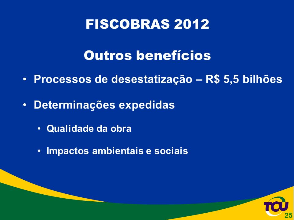 Processos de desestatização – R$ 5,5 bilhões Determinações expedidas Qualidade da obra Impactos ambientais e sociais FISCOBRAS 2012 Outros benefícios 25