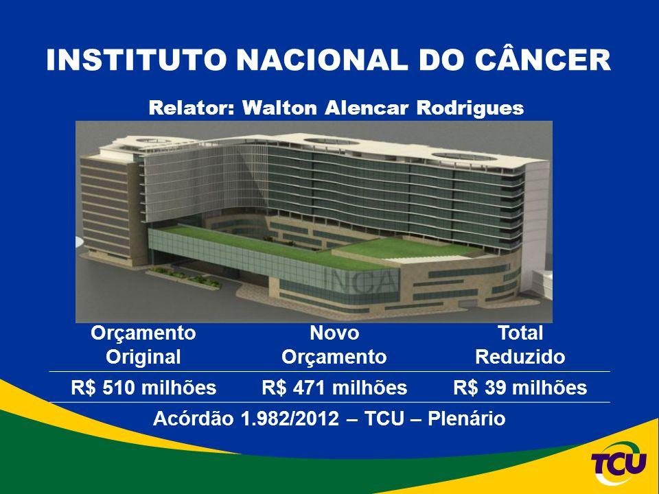 INSTITUTO NACIONAL DO CÂNCER Orçamento Original Novo Orçamento Total Reduzido R$ 510 milhõesR$ 471 milhõesR$ 39 milhões Acórdão 1.982/2012 – TCU – Plenário Relator: Walton Alencar Rodrigues