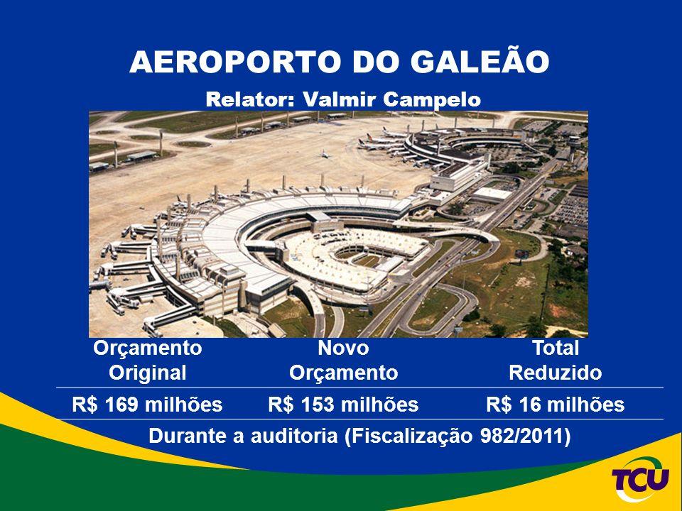 AEROPORTO DO GALEÃO Relator: Valmir Campelo Fonte: Infraero Orçamento Original Novo Orçamento Total Reduzido R$ 169 milhõesR$ 153 milhõesR$ 16 milhões Durante a auditoria (Fiscalização 982/2011)