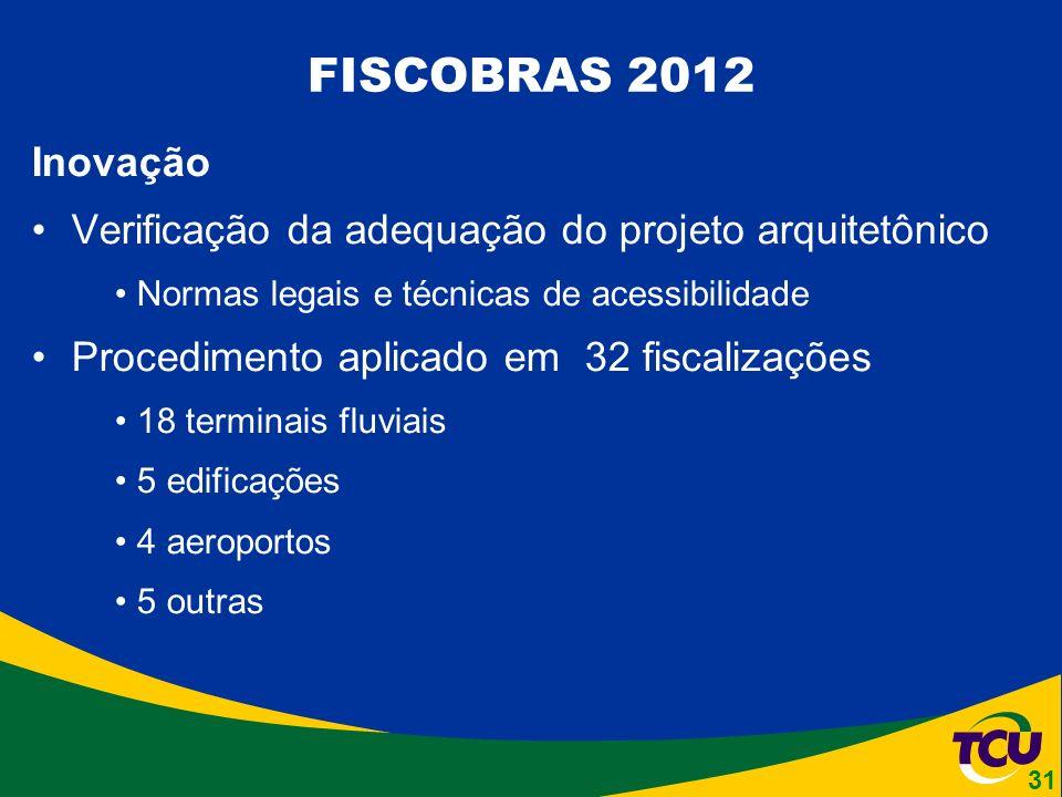 Inovação Verificação da adequação do projeto arquitetônico Normas legais e técnicas de acessibilidade Procedimento aplicado em 32 fiscalizações 18 terminais fluviais 5 edificações 4 aeroportos 5 outras FISCOBRAS 2012 31