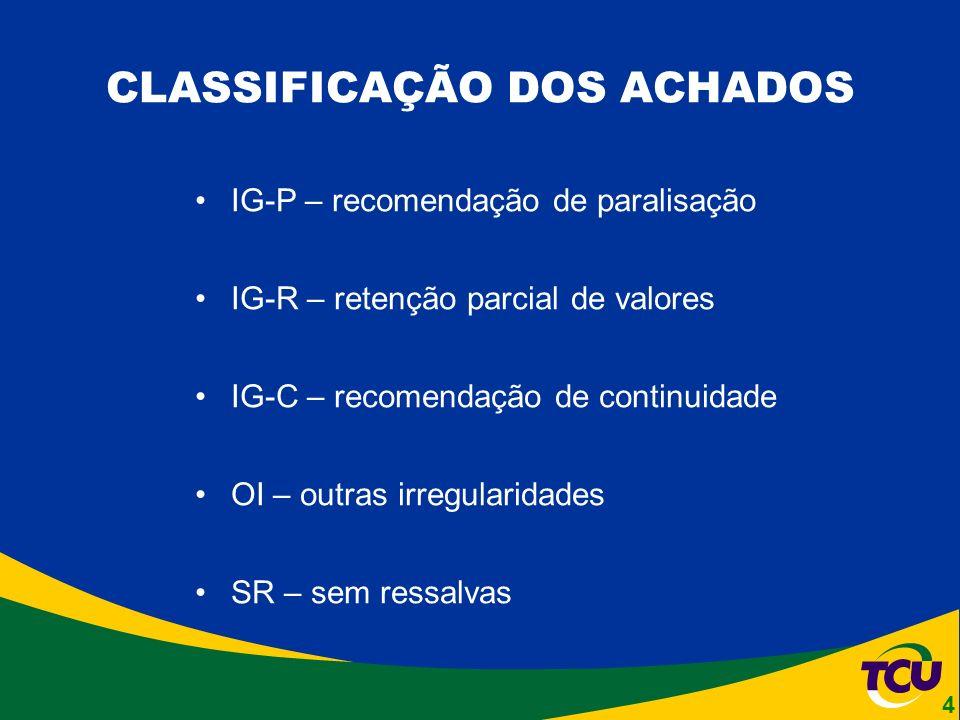 CLASSIFICAÇÃO DOS ACHADOS IG-P – recomendação de paralisação IG-R – retenção parcial de valores IG-C – recomendação de continuidade OI – outras irregularidades SR – sem ressalvas 4
