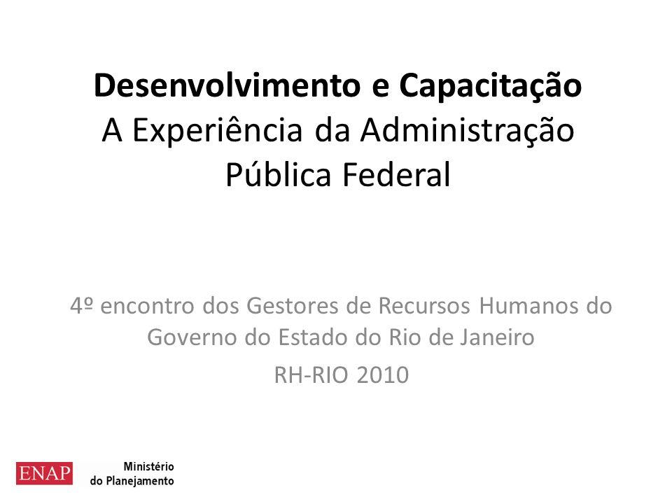 Desenvolvimento e Capacitação A Experiência da Administração Pública Federal 4º encontro dos Gestores de Recursos Humanos do Governo do Estado do Rio de Janeiro RH-RIO 2010
