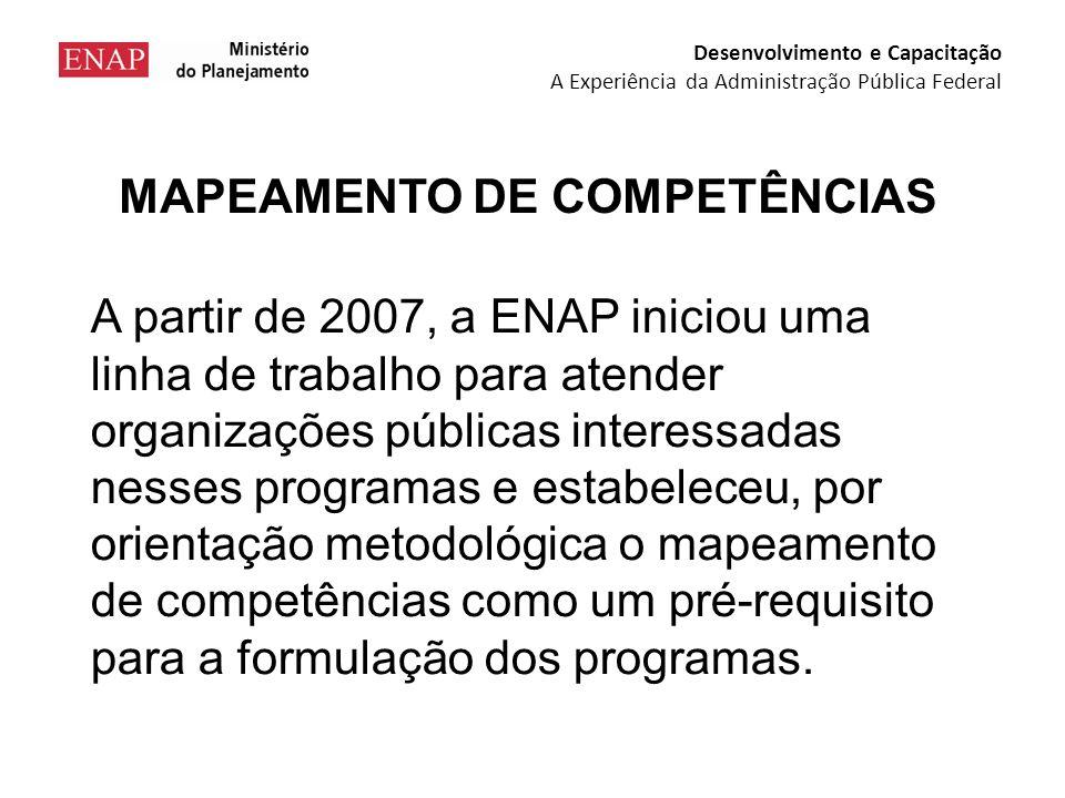 MAPEAMENTO DE COMPETÊNCIAS A partir de 2007, a ENAP iniciou uma linha de trabalho para atender organizações públicas interessadas nesses programas e estabeleceu, por orientação metodológica o mapeamento de competências como um pré-requisito para a formulação dos programas.