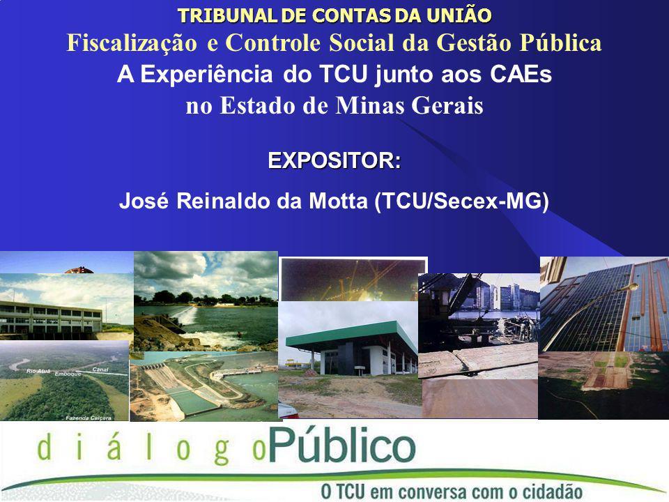 TRIBUNAL DE CONTAS DA UNIÃO Fiscalização e Controle Social da Gestão Pública A Experiência do TCU junto aos CAEs no Estado de Minas GeraisEXPOSITOR: José Reinaldo da Motta (TCU/Secex-MG)
