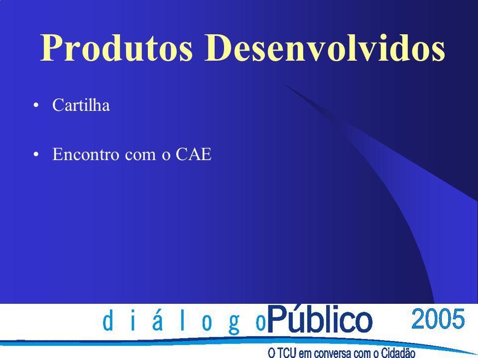 Produtos Desenvolvidos Cartilha Encontro com o CAE