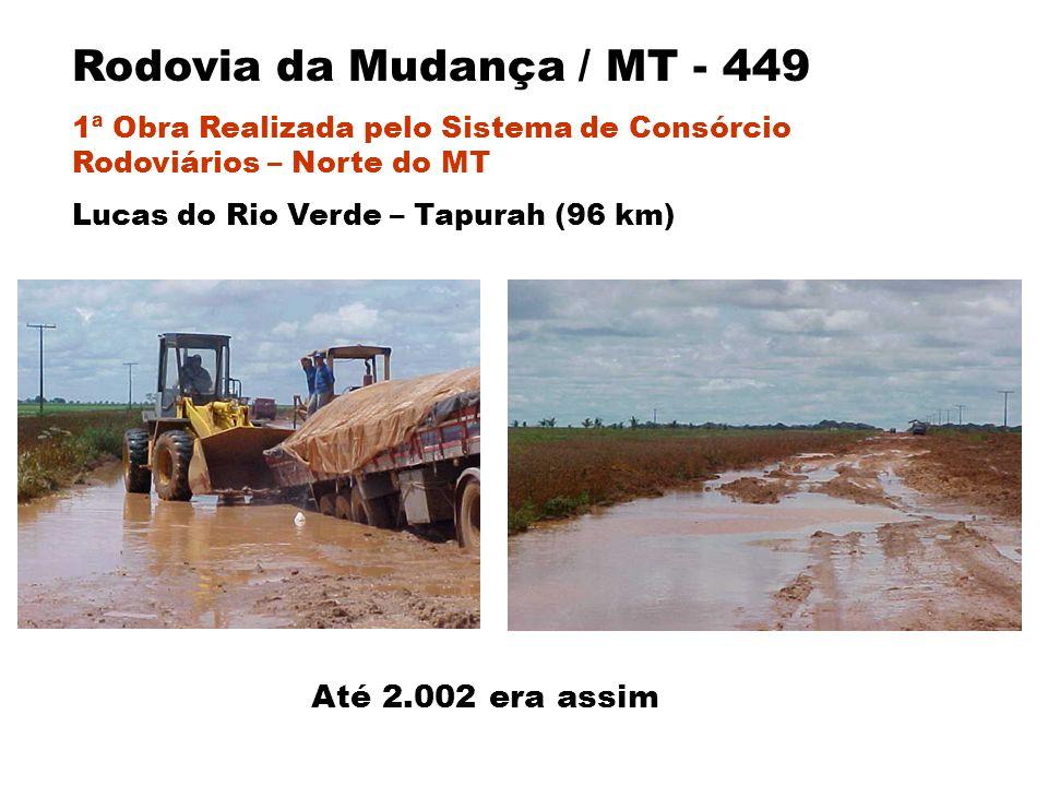 Até 2.002 era assim Rodovia da Mudança / MT - 449 1ª Obra Realizada pelo Sistema de Consórcio Rodoviários – Norte do MT Lucas do Rio Verde – Tapurah (