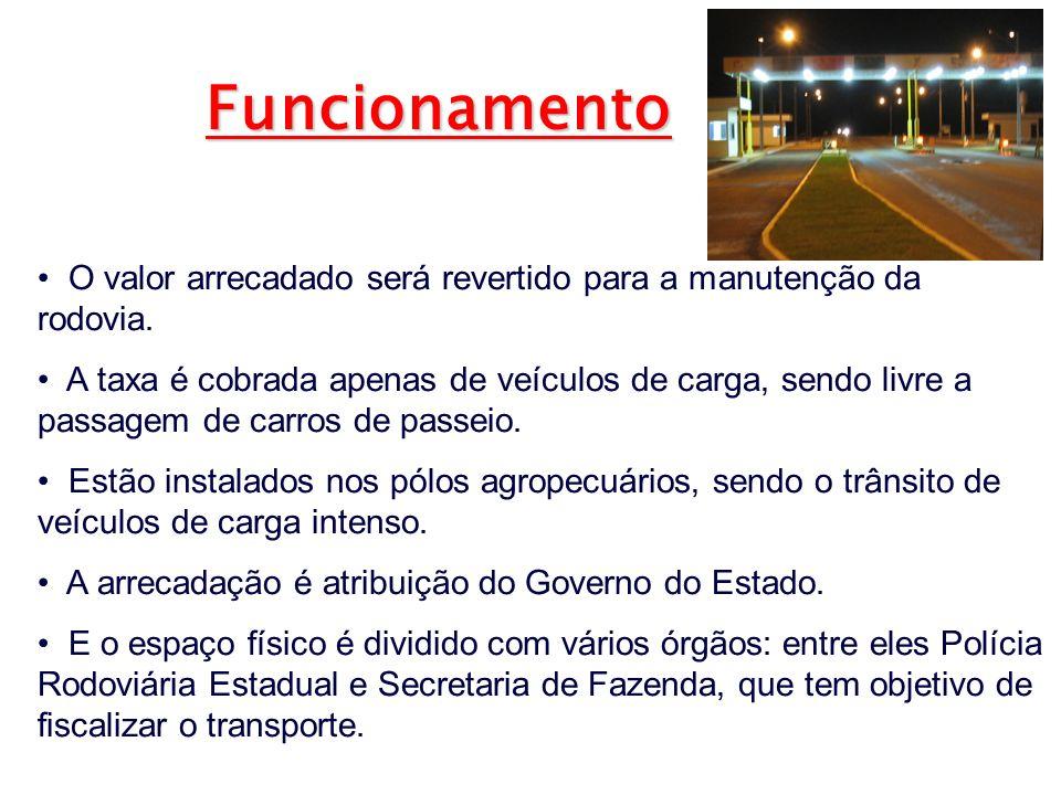 O valor arrecadado será revertido para a manutenção da rodovia. A taxa é cobrada apenas de veículos de carga, sendo livre a passagem de carros de pass