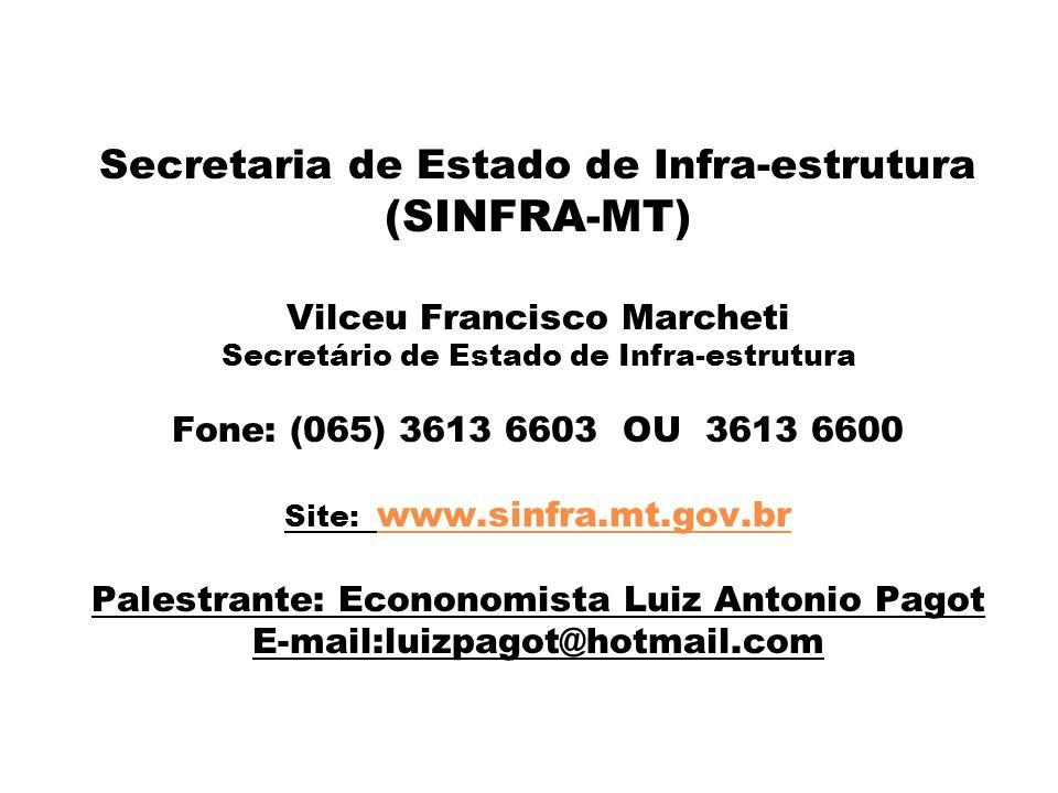 Secretaria de Estado de Infra-estrutura (SINFRA-MT) Vilceu Francisco Marcheti Secretário de Estado de Infra-estrutura Fone: (065) 3613 6603 OU 3613 66