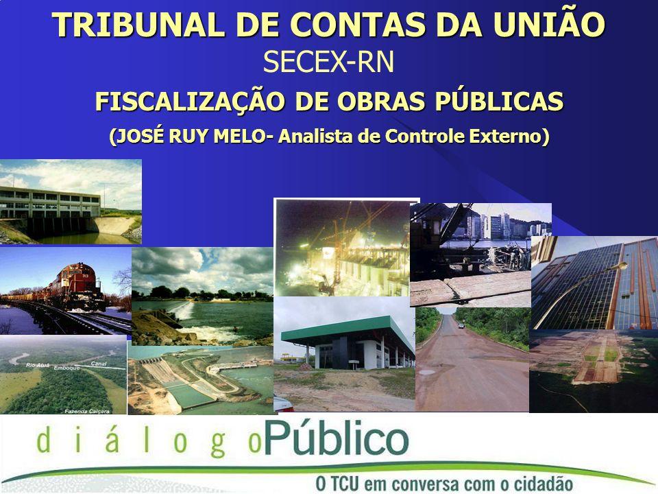 TRIBUNAL DE CONTAS DA UNIÃO SECEX-RN FISCALIZAÇÃO DE OBRAS PÚBLICAS (JOSÉ RUY MELO- Analista de Controle Externo)