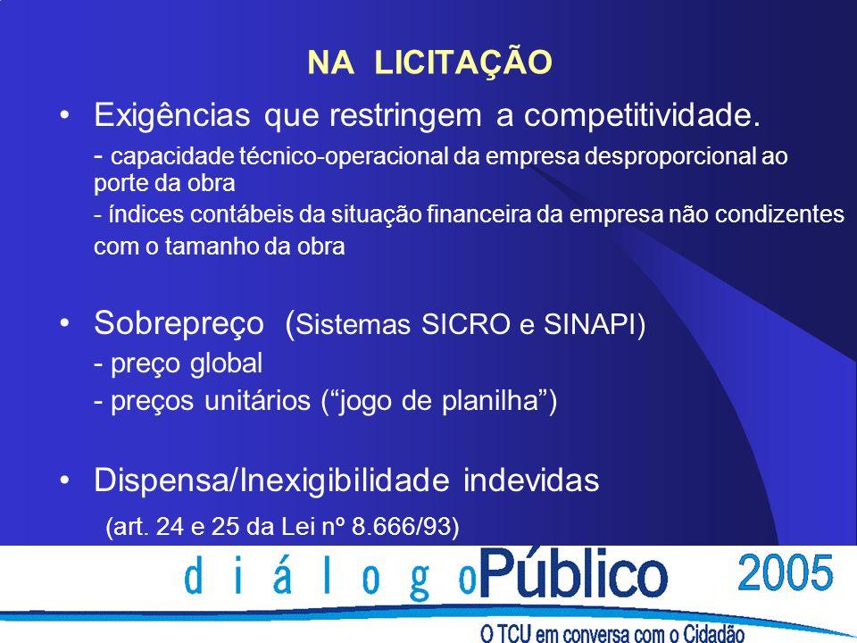 NA LICITAÇÃO Exigências que restringem a competitividade. - capacidade técnico-operacional da empresa desproporcional ao porte da obra - índices contá