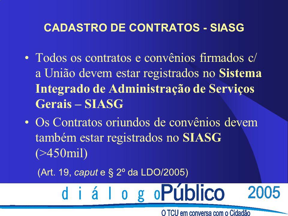 CADASTRO DE CONTRATOS - SIASG Todos os contratos e convênios firmados c/ a União devem estar registrados no Sistema Integrado de Administração de Serv