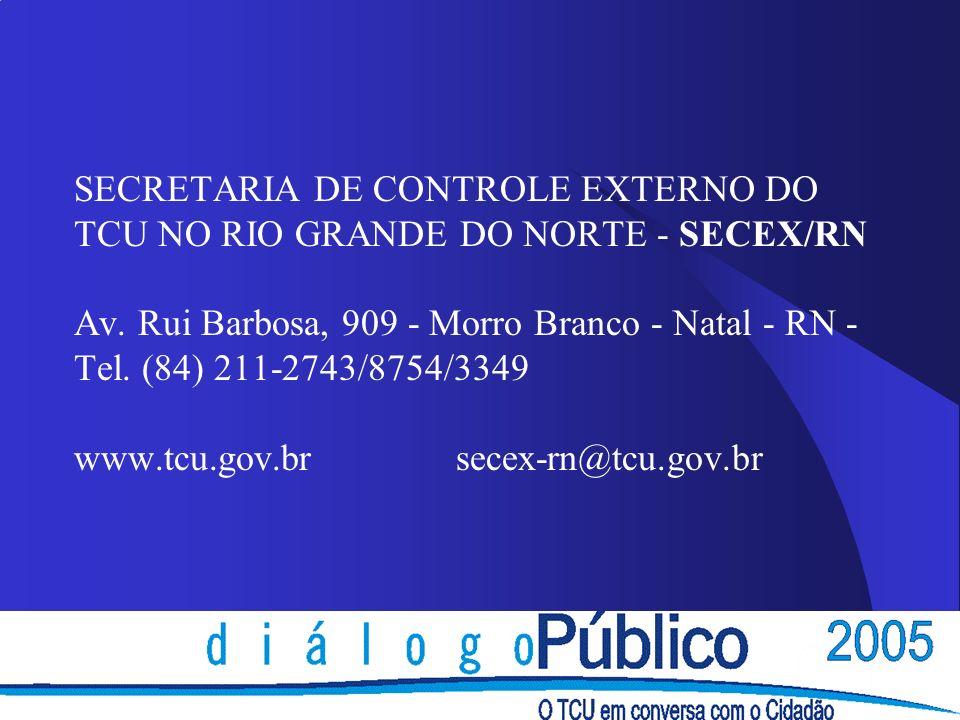 SECRETARIA DE CONTROLE EXTERNO DO TCU NO RIO GRANDE DO NORTE - SECEX/RN Av. Rui Barbosa, 909 - Morro Branco - Natal - RN - Tel. (84) 211-2743/8754/334