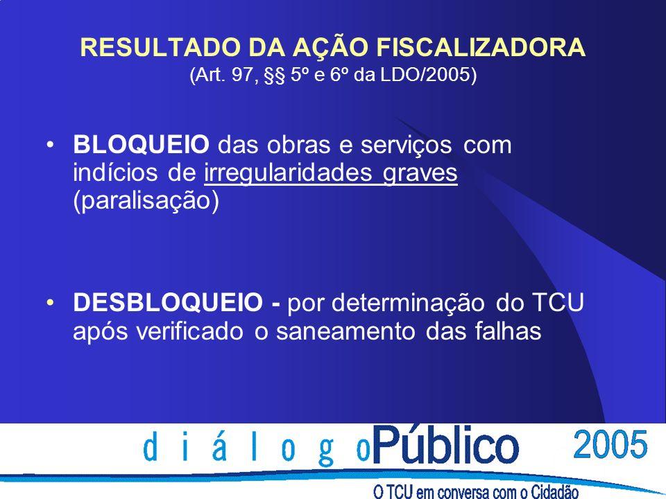 RESULTADO DA AÇÃO FISCALIZADORA (Art. 97, §§ 5º e 6º da LDO/2005) BLOQUEIO das obras e serviços com indícios de irregularidades graves (paralisação) D