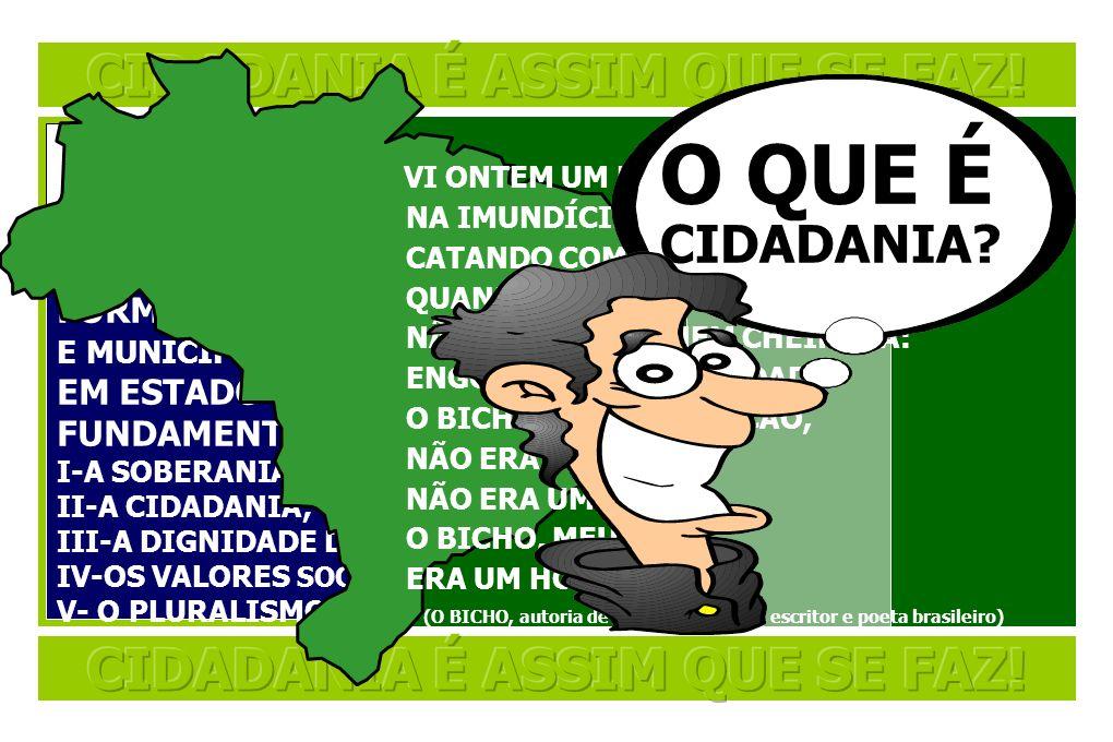 OS FUNDAMENTOS DO ESTADO BRASILEIRO (ARTIGO 1º DA CONSTITUIÇÃO FEDERAL BRASILEIRO) A REPÚBLICA FEDERATIVA DO BRASIL, FORMADA PELA UNIÃO INDISSOLÚVEL D