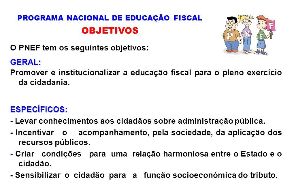 O PNEF tem os seguintes objetivos:GERAL: Promover e institucionalizar a educação fiscal para o pleno exercício da cidadania.ESPECÍFICOS: - Levar conhe