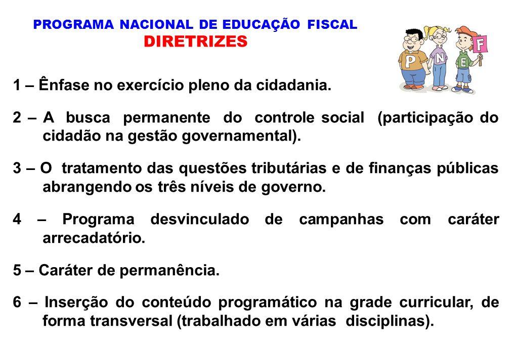 1 – Ênfase no exercício pleno da cidadania. 2 – A busca permanente do controle social (participação do cidadão na gestão governamental). 3 – O tratame