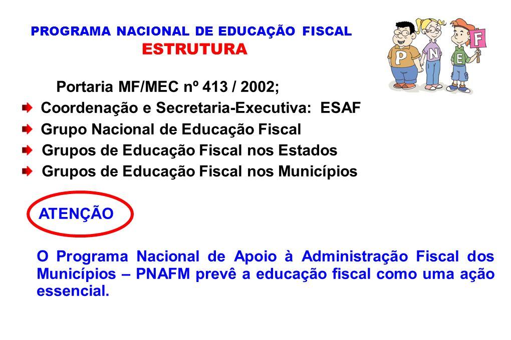Portaria MF/MEC nº 413 / 2002; Coordenação e Secretaria-Executiva: ESAF Grupo Nacional de Educação Fiscal Grupos de Educação Fiscal nos Estados Grupos