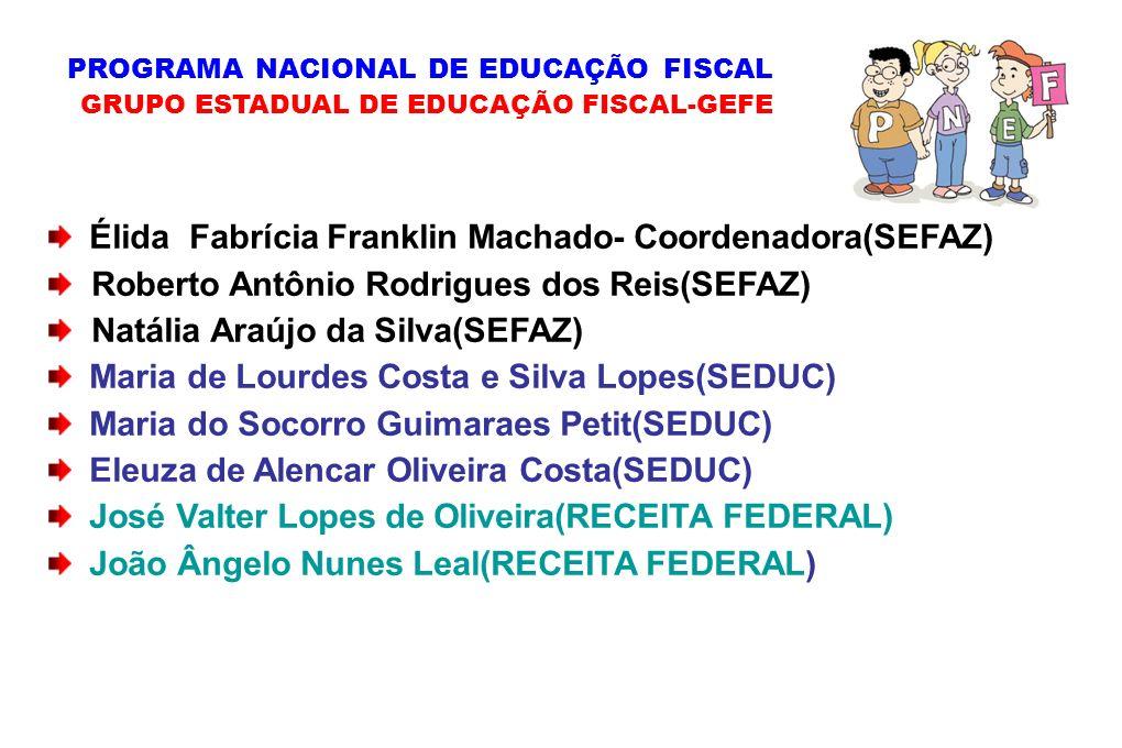 Élida Fabrícia Franklin Machado- Coordenadora(SEFAZ) Roberto Antônio Rodrigues dos Reis(SEFAZ) Natália Araújo da Silva(SEFAZ) Maria de Lourdes Costa e