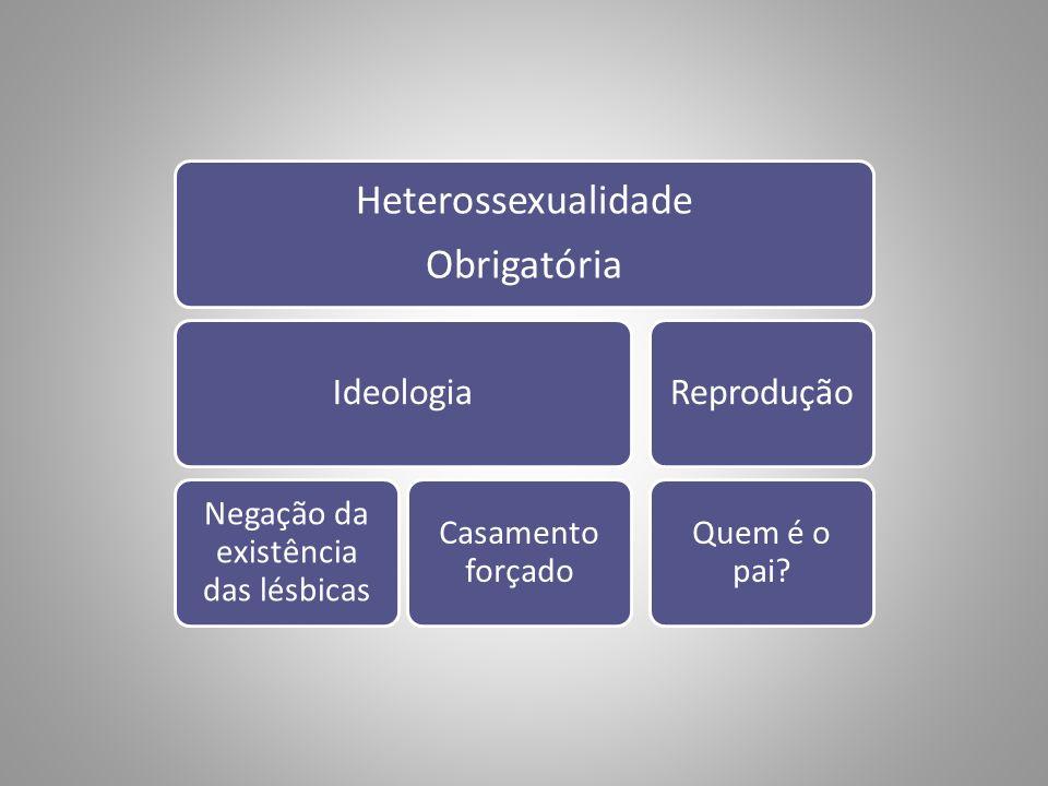 Heterossexualidade Obrigatória Ideologia Negação da existência das lésbicas Casamento forçado Reprodução Quem é o pai?