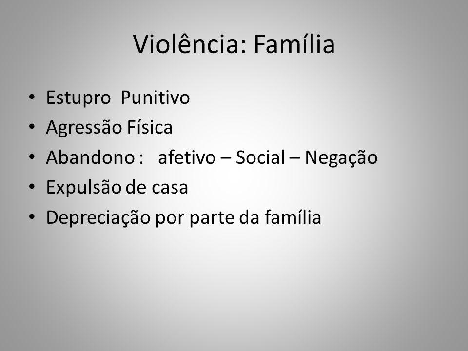 Violência: Família Estupro Punitivo Agressão Física Abandono : afetivo – Social – Negação Expulsão de casa Depreciação por parte da família